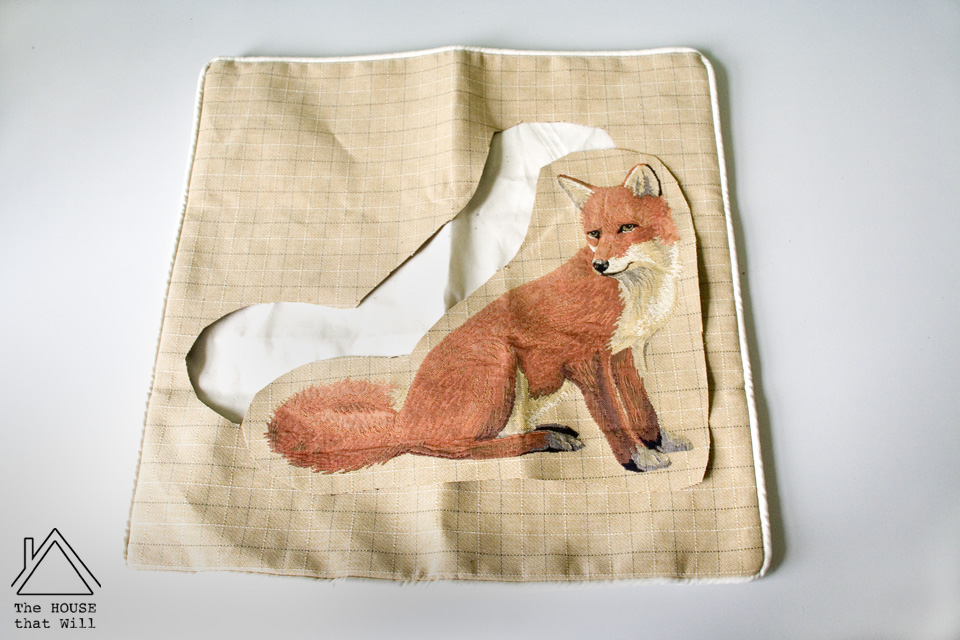 The House that Will | Hand-Appliqué Tweed Fox Cushion Cover Throw Pillow