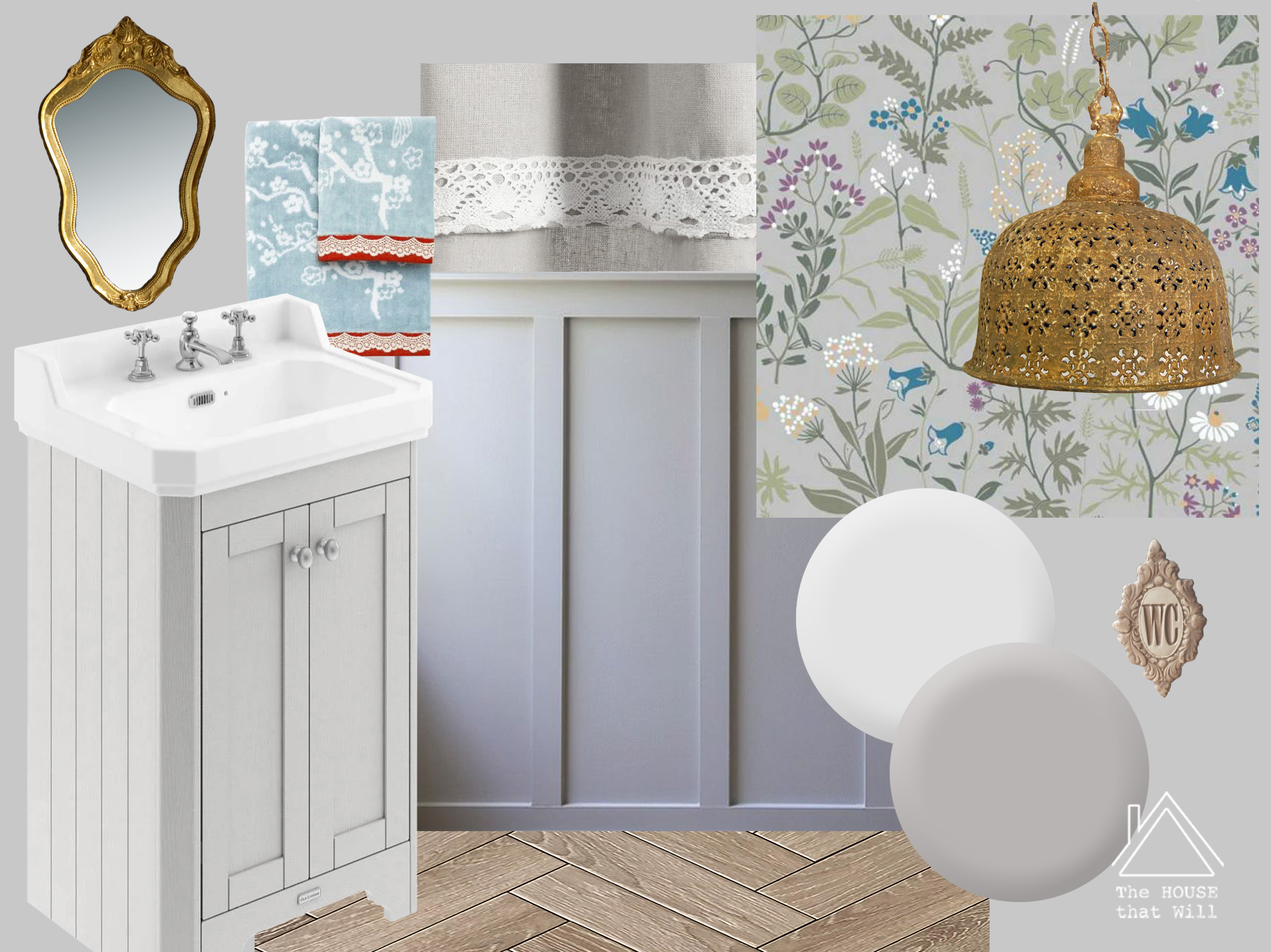 The House that Will | One Room Challenge Downstairs Loo powder room moodboard