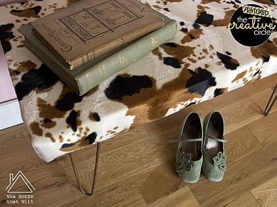 DIY Faux Cowhide Bench